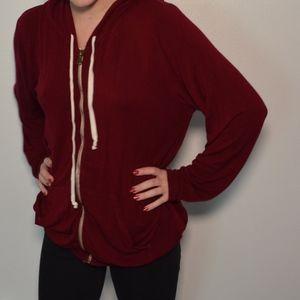 Red Brandy Melville zip up hoodie